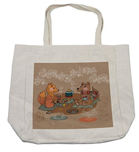 Lunarable Fox Shopping Bag, Tea Time Themed Cartoon Colorful Funny Animals of The Forest on a Brown Background, Eco-Friendly Reusable Bag for Groceries Beach Travel School & More, Cream