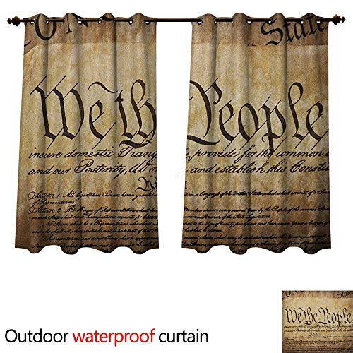 (Anshesix United States Outdoor Curtain for Patio Vintage Constitution Text of America National Glory Fourth of July Image W55 x L72(140cm x 183cm))