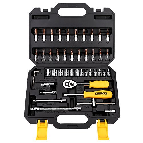 DEKOPRO Socket Wrench 46-Piece Mixed Auto Repair Tool Set Hand Tool Kit with Plastic Toolbox Storage Case (13 Piece Flex Extension)