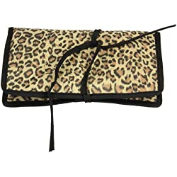 Household Essentials Travel Jewelry Roll, Leopard Print