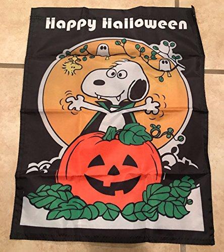 Snoopy Woodstock Pumpkin Happy Halloween Garden Flag 14 X 18 inches]()