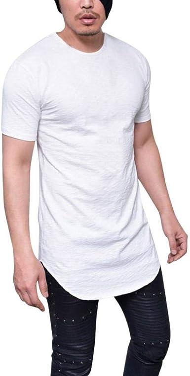 Camisa Mens Lhwy Hombres Hombres Slim Fit Camiseta Verano O Ropa Cuello Manga Corta Cómoda Sudadera Respirable Color Sólido Long Casual Wear Tops Blusa: Amazon.es: Ropa y accesorios