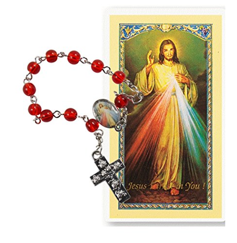 Cards Rosary Prayer (The Divine Mercy One Decade Rosary Includes a Blessed Prayer Card Jesus I Trust in You)
