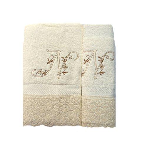 Portugal (N). Juego de 3 Toallas beije(100x150, 50x100, 50x30) Letras Iniciales Bordadas, 100% algodón, Fabricado en CEE.