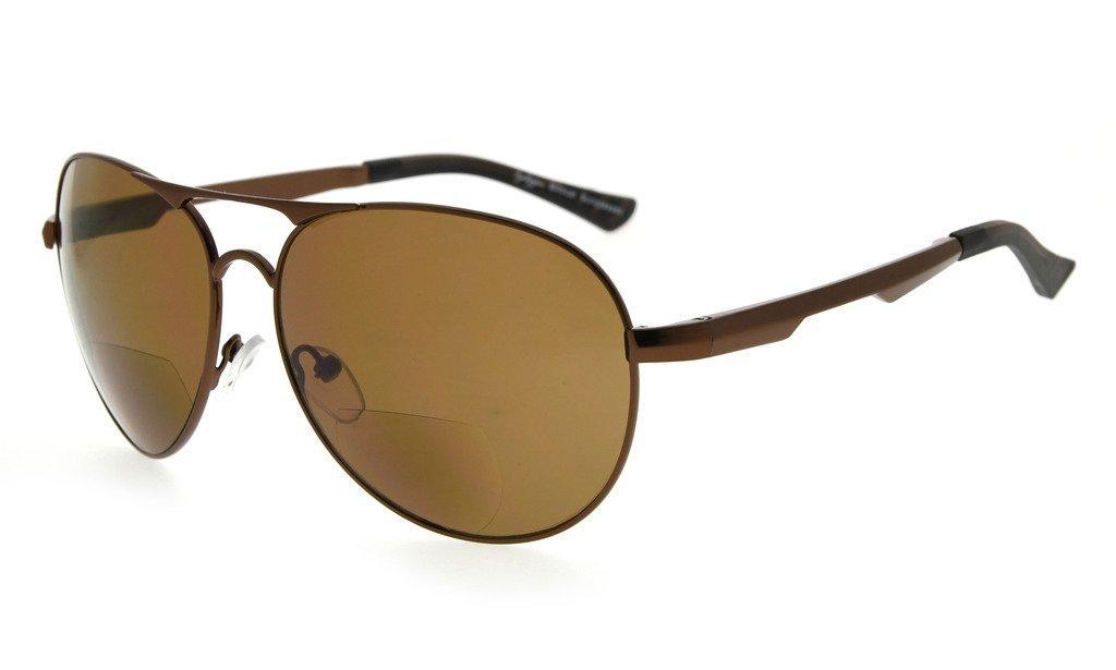 Eyekepper Policarbonato polarizado gafas de sol bifocales Piloto estilo Bifocal lectores de Sun polarizados al aire libre gafas de lectura (Marrón, +1.50)