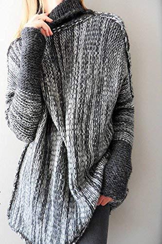 Caldo Autunno Pullover Lunghi Allentato Manica Maglia Moda Maglioni Maglione Donna Maglie Lunga Collo A Eleganti Alto Invernali Baggy Vintage Accogliente g1EwaZq