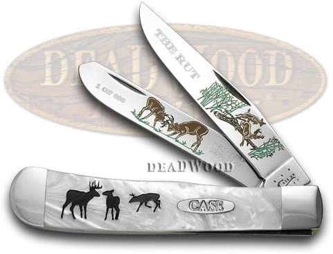 CASE XX The Rut Etched Trapper White Pearl 1 600 Pocket Knife Knives