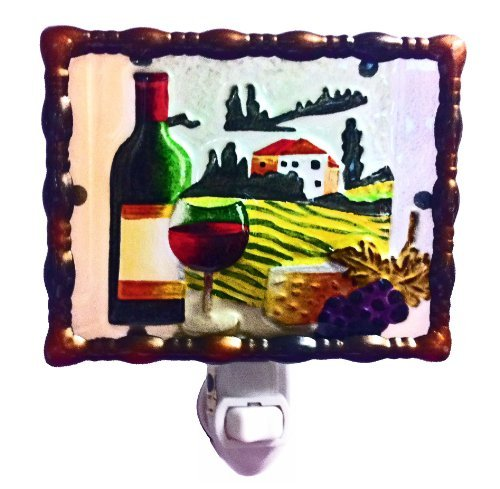 Continental Art Center NL0201 Hand Painted Glass with Night Light Tuscany Wine Country, 5.2 by 5.6 by 1.6-Inch by Continental Art