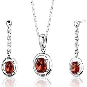 Peora Garnet Pendant Earrings Set Sterling Silver Oval Shape 2.00 Carats Dangle Style