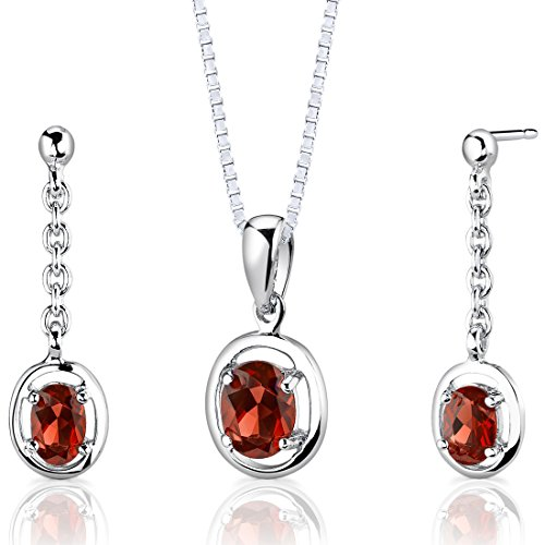 Garnet Pendant Earrings Set Sterling Silver Rhodium Nickel Finish Oval Shape 2.00 Carats Dangle - Garnet Shape Earrings Pendant