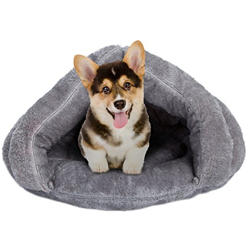 Cat Sleeping Bed (Cat Nest Pet Beds Pet Cave Pet Warm Sleeping Bag Triangle Nest Puppy Bed Pet Products 20'' Grey)