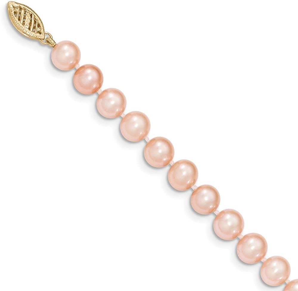 14k Yellow Gold 6-7mm Pink Near Round Freshwater Cultured Pearl Necklace