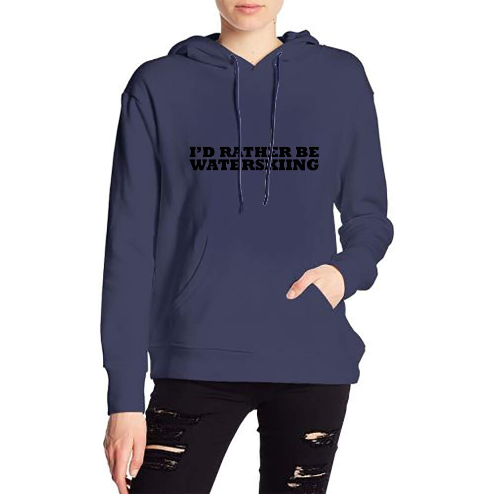 Id Rather Be Waterskiing Womans Sports Drawstring Hooded