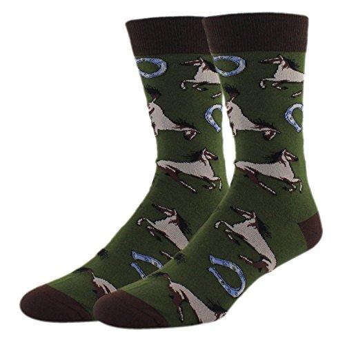 Mens Novelty Cool Animal Crew Socks Funny Racing Horses Cotton Socks in -