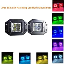12W 3x3 Inch Remote Controller Flush Mount LED Pods/Cubes RGB Halo Ring Spotlight SUV Off Road Headlight Pods Driving Fog Light With Mounting Bracket (Pack of 2)