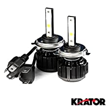 Krator LED H4 Headlight Conversion Bulbs 40W 4000LM Light Bulbs 9003/HB2 6000K White with Built-In Turbo Cooling Fan for 2014-2015 Yamaha XVS950 Bolt