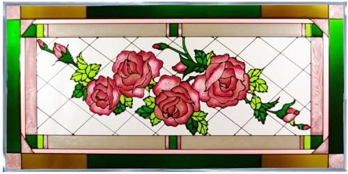 Rose Painted Glass Panel N-025