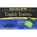 Bigelow English Teatime Tea 20 Bags (Pack of 6), 120 Tea Bags Total.  Caffeinated Individual Black Tea Bags, for Hot Tea or Iced Tea, Drink Plain or Sweetened with Honey or Sugar 8 TEA TIME ANY TIME: Start your morning with English Teatime (it's a great coffee substitute) or add a little honey splash of milk and a book on the side for the perfect cozy tea time treat. With a flavor so rich and robust one cup may not be enough INDIVIDUALLY WRAPPED: Bigelow tea always come individually wrapped in foil pouches for peak flavor, freshness, and aroma to enjoy everywhere you go! Non GMO Verified, Gluten -free, calorie-free, & Kosher certified; Bigelow tea delivers on all the health benefits of tea. TRY EVERY FLAVOR: There's a Bigelow Tea for every mood and every time of day. Rise and shine with English Breakfast, smooth out the day with Vanilla Chai, get an antioxidant boost from Green Tea, or relax & restore with one of our variety of herbal teas.