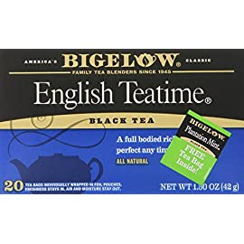 Bigelow English Teatime Tea 20 Bags (Pack of 6), 120 Tea Bags Total.  Caffeinated Individual Black Tea Bags, for Hot Tea or Iced Tea, Drink Plain or Sweetened with Honey or Sugar 84 TEA TIME ANY TIME: Start your morning with English Teatime (it's a great coffee substitute) or add a little honey splash of milk and a book on the side for the perfect cozy tea time treat. With a flavor so rich and robust one cup may not be enough INDIVIDUALLY WRAPPED: Bigelow tea always come individually wrapped in foil pouches for peak flavor, freshness, and aroma to enjoy everywhere you go! Non GMO Verified, Gluten -free, calorie-free, & Kosher certified; Bigelow tea delivers on all the health benefits of tea. TRY EVERY FLAVOR: There's a Bigelow Tea for every mood and every time of day. Rise and shine with English Breakfast, smooth out the day with Vanilla Chai, get an antioxidant boost from Green Tea, or relax & restore with one of our variety of herbal teas.