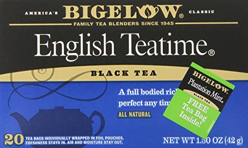 Bigelow English Teatime Tea 20 Bags (Pack of 6), Full Caffeine Premium Black Tea, Bold and Antioxidant-Rich Full Caffeine Black Tea in Foil-Wrapped Bags