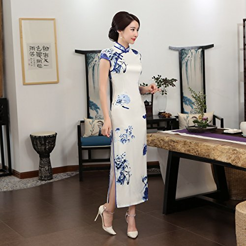ACVIP Women Cap Sleeve Chinese Paint Floral Maxi Qipao Side Split Cheongsam (China S/Bust:32.3'') by ACVIP (Image #6)