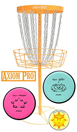 Axiom Pro Disc Golf Basket (Orange) + 2 Discs + Sun King Sticker by Axiom