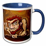 3dRose Brian Allen Childrens illustrations - Rugged caveman giving the peace sign - 11oz Two-Tone Blue Mug (mug_53071_6)