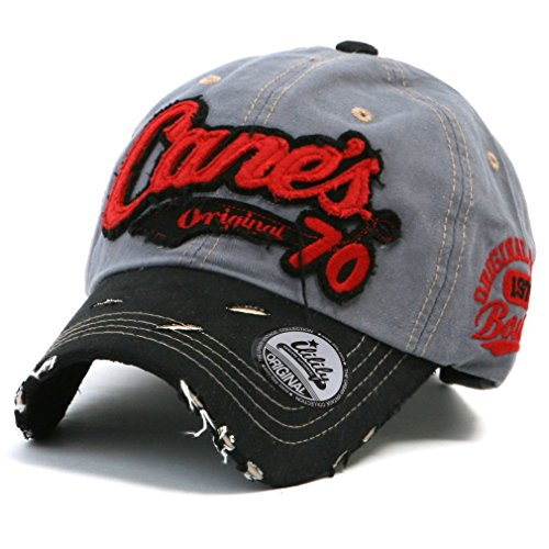 ililily Cane's Distressed Vintage Embroidered Baseball Cap Snapback Trucker Hat Gray