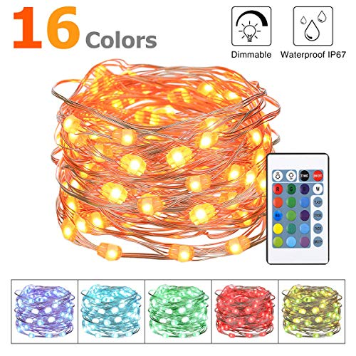 KingSo LED Fairy Lights, Multi Color Changing RGB Fairy Twinkle Lights 8 Modes Remote Battery Operated Waterproof 16ft 50LEDs for Bedroom Wedding Party Garden Patio