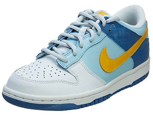 [309601-471] NIKE DUNK LOW (GS) GRADE SCHOOL SHOES SPLSH/YLLW OCHIR-PWDR BL-DK MRN