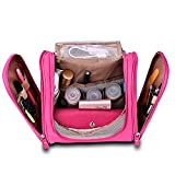 American Trends Travel Toiletry Bag Hanging Cosmetic Organizers Bathroom Kit Rose Red