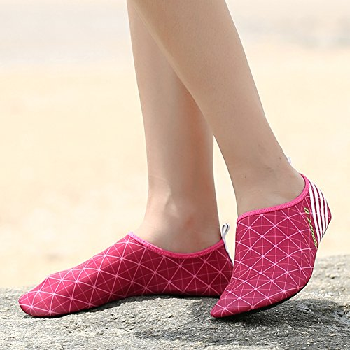 Dry Adult Sports Socks Holey Aqua KPU 9rose Outsole Water Quick Skin Shoes Red Kids Ventilation HHwrqEpf
