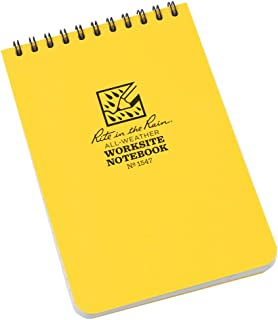 "product image for Rite in the Rain Weatherproof Worksite Top-Spiral Notebook, 4"" x 6"", Yellow Cover, Worksite Universal Pattern (No. 1547)"