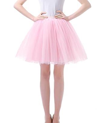 847b5396c73005 Facent Damen Kurz Tutu Tüllrock Petticoat Kleid Minirock Tütü Ballerina Tüll  Rock Reifrock Rosa