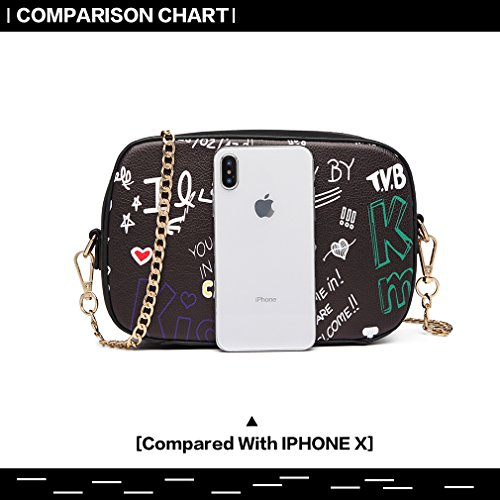 Crossbody Chain Black Shoulder Handbags Miss for Pu Women Fashion Bag Lulu Graffiti Bag Girl Small Leather RqqIzw1Z