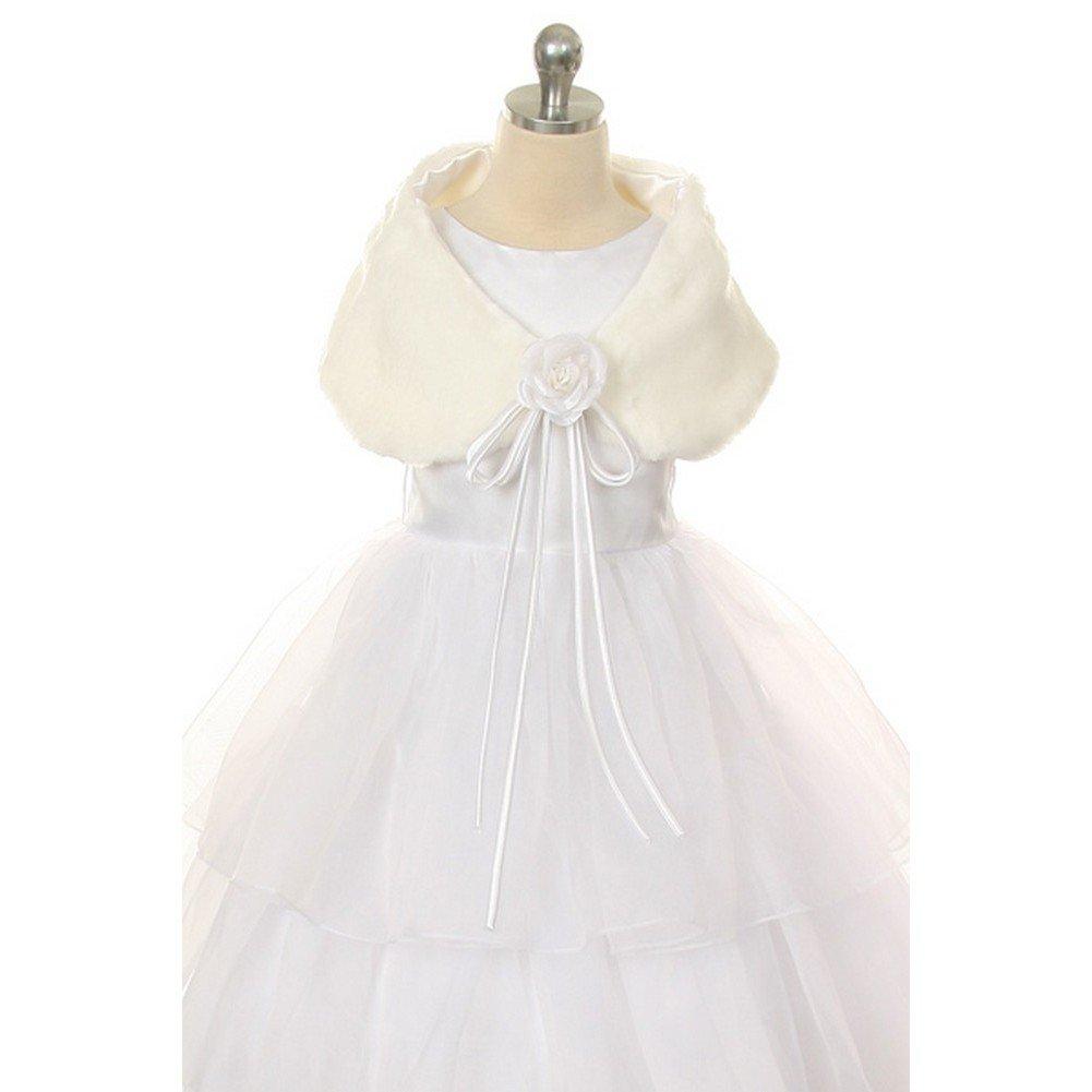 Kids Dream Ivory Flower Shoulder Wrap Elegant Fur Shawl Girl 10