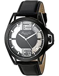 Kenneth Cole New York Mens Transparency Quartz Stainless Steel and Black Leather Dress Watch (Model: 10022526)