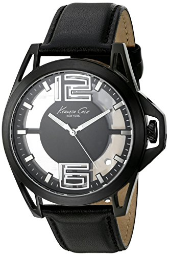 Kenneth Cole New York Men's 'Transparency' Quartz Stainless Steel and Black Leather Dress Watch (Model: 10022526)