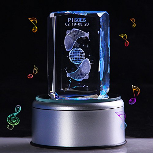 LIWUYOU Valentines Day Gift Engraved Crystal Colorful Music Boxes 12 Constellation 3D Musical Box, Music Base ,Pisces