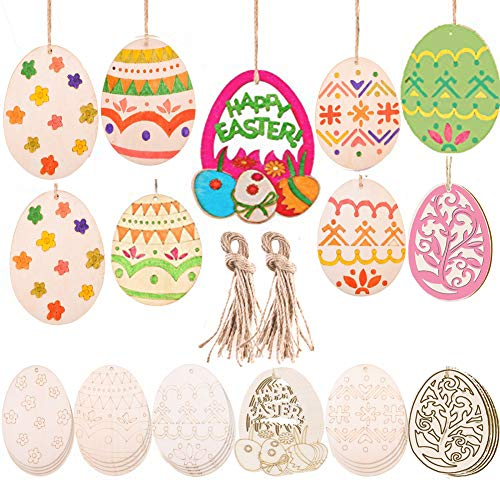 Tuoshei 36 Pieces Easter Wooden Embellishments Easter Wood Egg Wood Cutouts Wood Egg Ornament with Hanging Cords for Easter Party (36) ()
