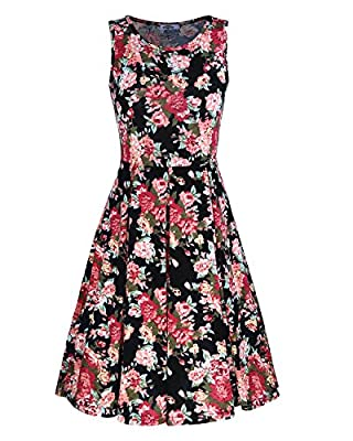 STYLEWORD Women's Sleeveless Summer Casual Floral Dress