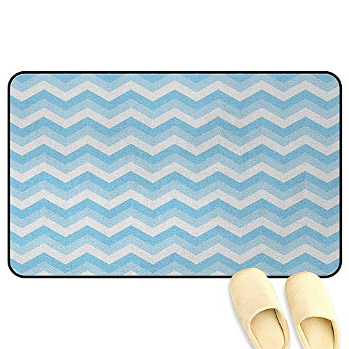 Chevron Microfiber Absorbent Bath Mat Zigzag Pattern Sea Aqua Colors Classic Antique Artwork Illustration Baby Blue Pale Blue White Hard Floor Protection W19 x L31 INCH