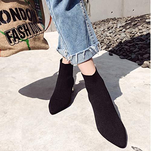 Point Donna Nero Maglia Elasticizzato Tessuto Toe Tacco Basso Da Calze Stivali Stivaletti AH0vOO