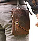 Le'aokuu Mens Genuine Leather Coffee Fanny Small Messenger Shoulder Satchel Waist Bag Pack (Coffee)