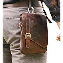 Le'aokuu Mens Genuine Leather Coffee Fanny Small Messenger Shoulder Satchel Waist Bag Pack