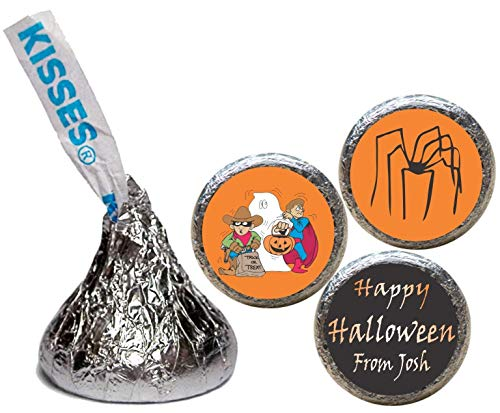 Halloween Stickers for the Bottom of Chocolate Kisses, Personalized (set of 108)(RSpider) -