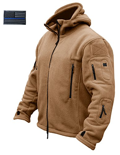 CRYSULLY Men Winter Cotton Casual Fishing Hoodie Windproof Soft Fleece Outdoor Snow Jacket Ski Coat Brown ()