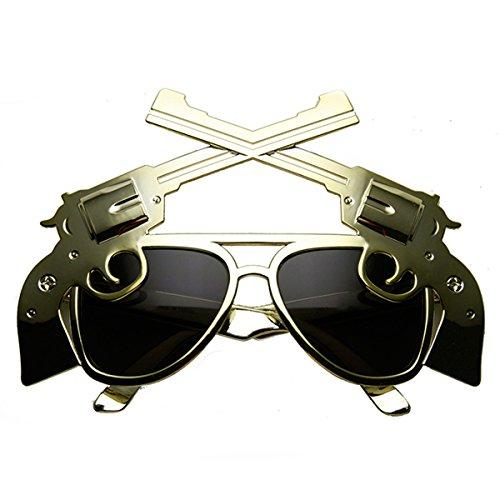 Zerouv - Gun Pistol Magnum Vilda Västern Cowboy Kostym Flygare Solglasögon Ljus Guld Rök