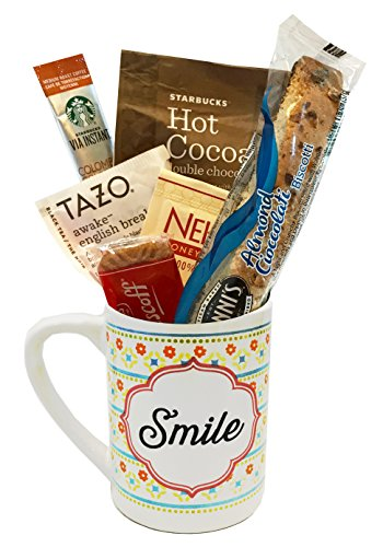Indulgent Gift Set - Starbucks Coffee Mug Gift Sets WITH Via Coffee Hot Cocoa Tea and MORE - Get Well Soon - Birthday Gift - Thinking of You Gift - DESIGNED FOR HER or HIM (Smile)
