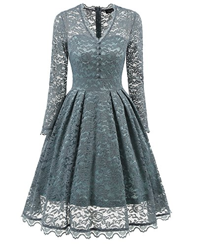 SOVIYAS Women's Long Sleeve V-Neck Retro Floral Lace Vintage Swing Bridesmaid Party Cocktail Dress
